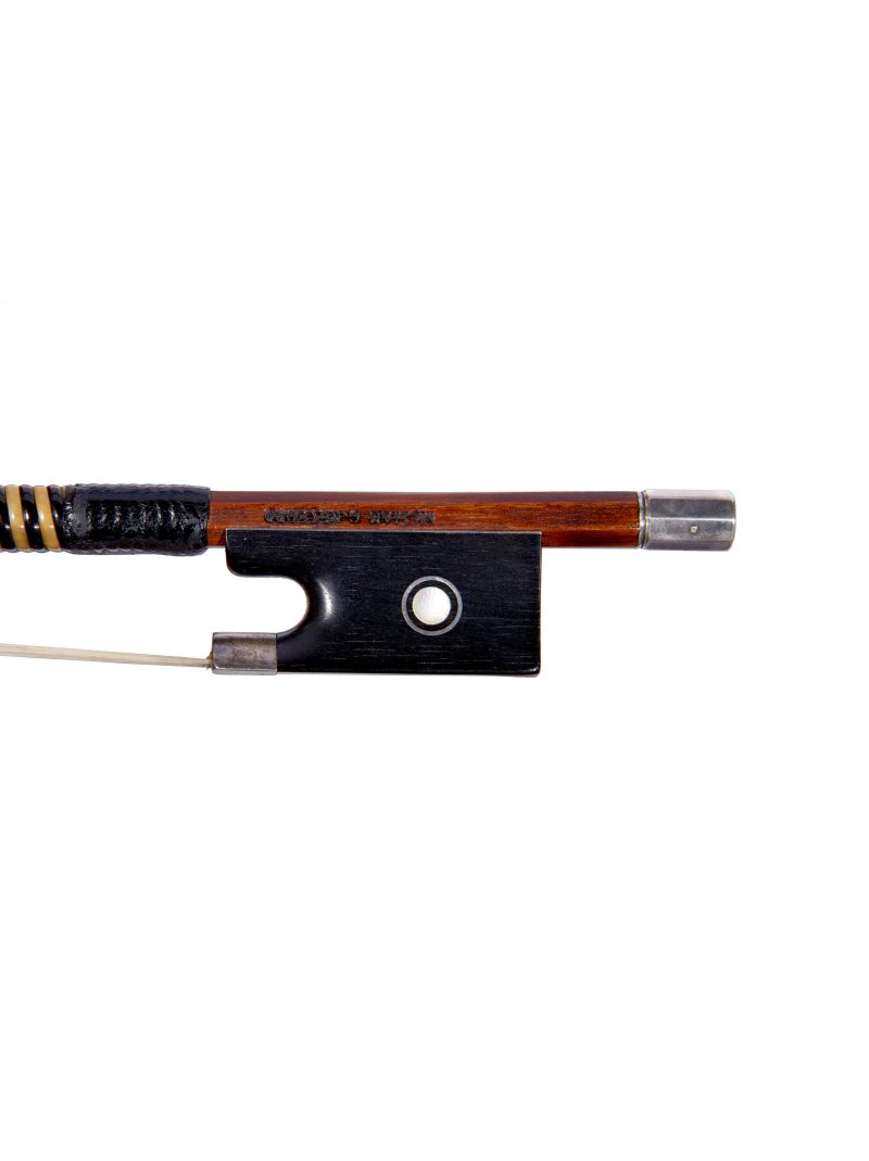Frog of a silver-mounted violin bow by William Charles Retford, London, 1960