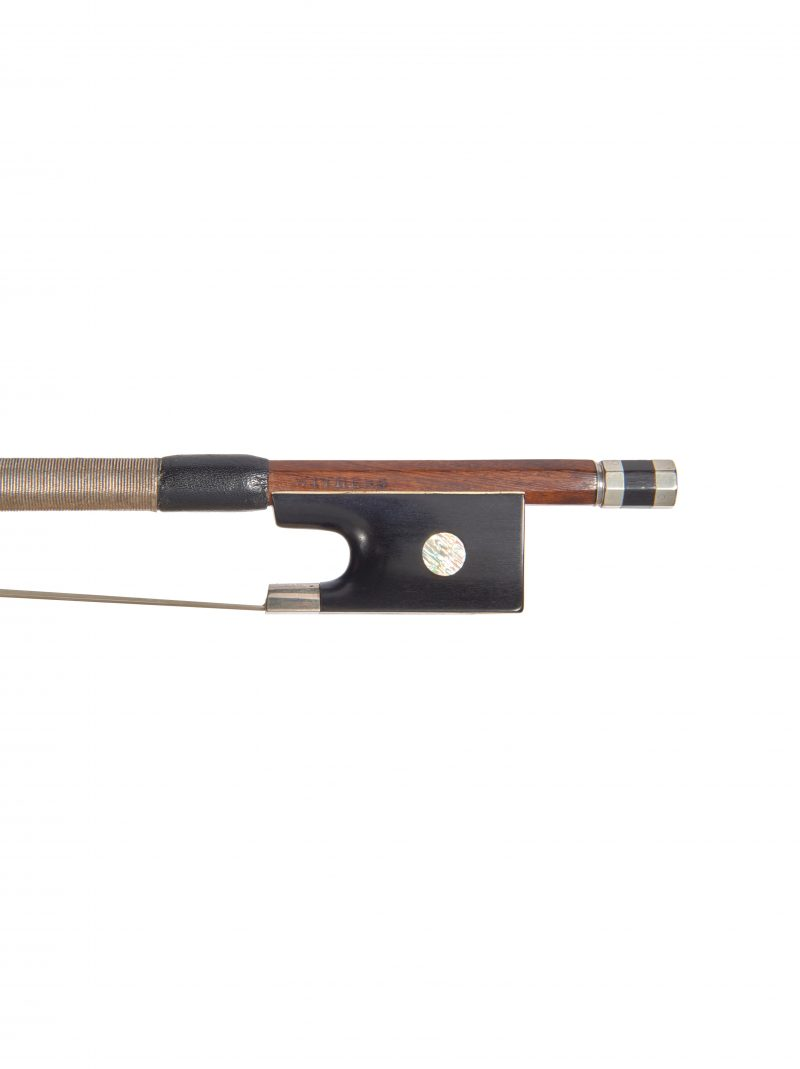 Frog of a silver-mounted viola bow by William Tubbs, circa 1870