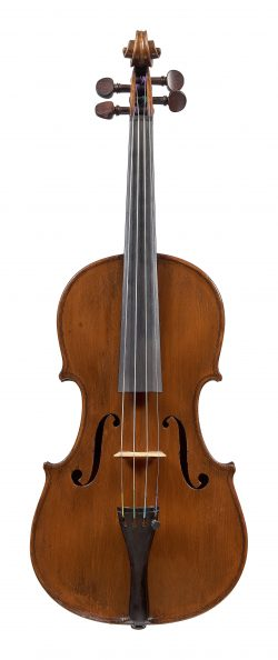 Front of a violin by William Luff, London, 1985