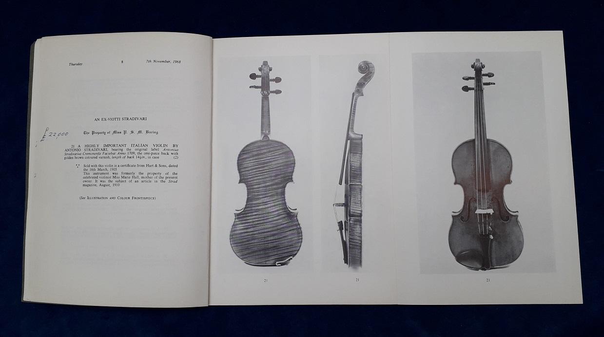 1968 catalogue entry for ex-Viotti; ex-Marie Hall Stradivari violin
