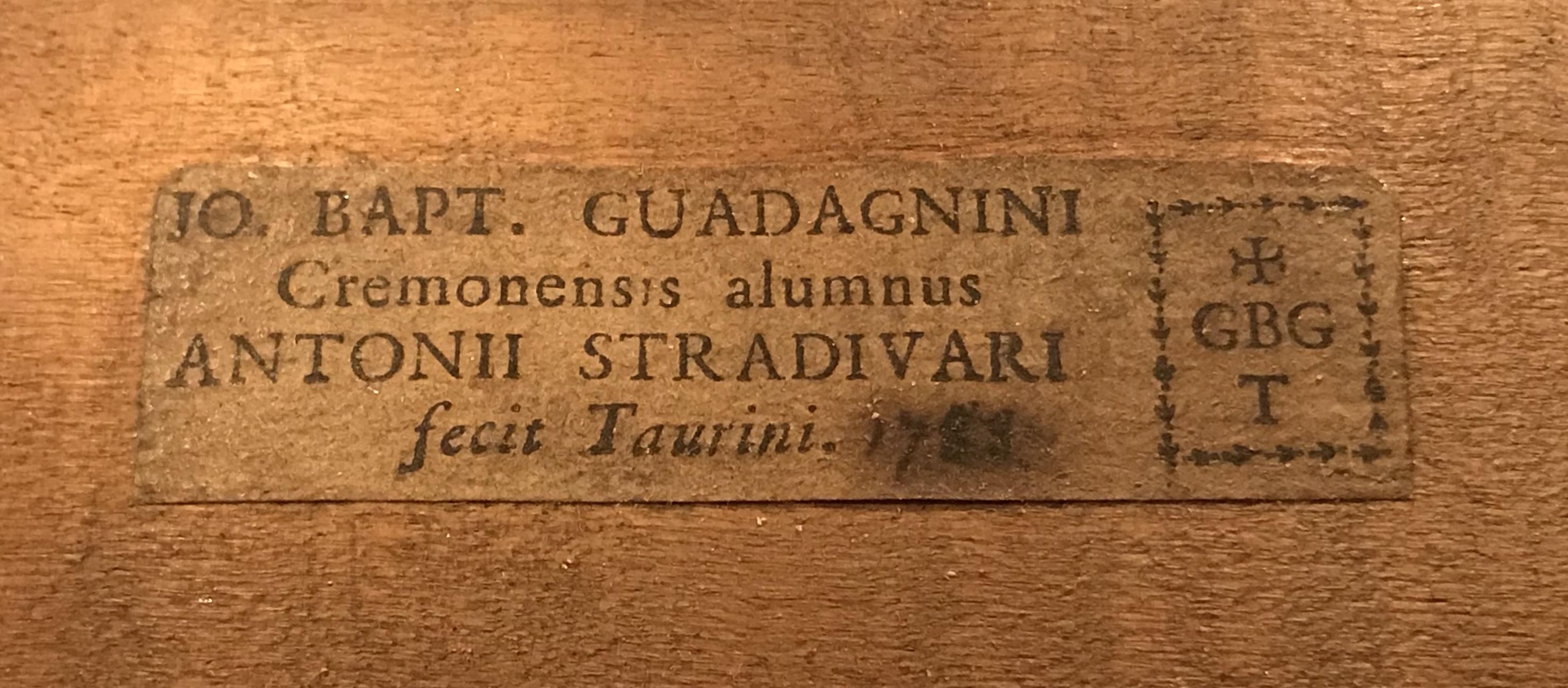 label of the ex-Rostropovich cello, 1783, by G.B. Guadagnini