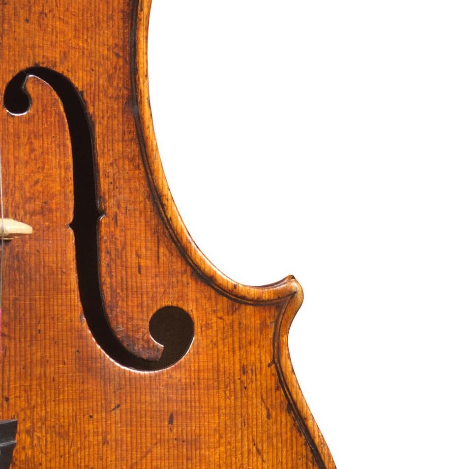 Front corner of a violin by Nicolo Amati, Cremona, 1662