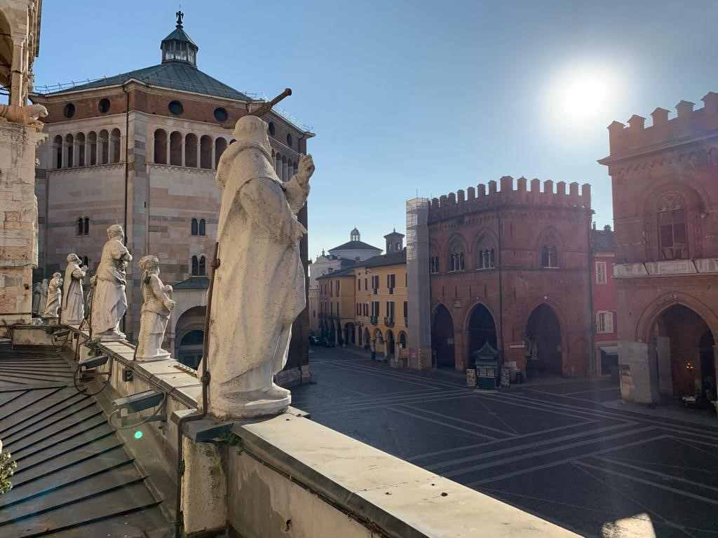 View of the piazza in Cremona from the cathedral