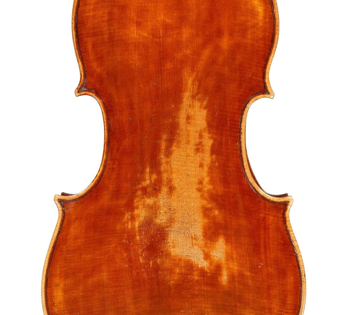 back of a viola by Lorenzo Storioni, 1787