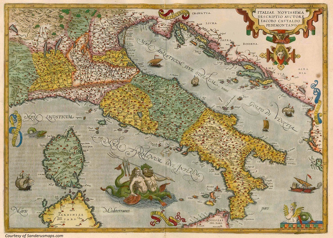 antique map of Italy from Sanderus Maps