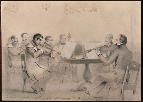 The string quartet of Alexei Lvov who once owned the Tsar Nicholas violin by J.B. Vuillaume