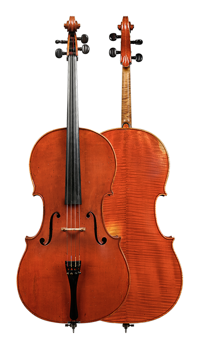 Front & back of a cello by Charles Adolphe Gand, Paris, 1847