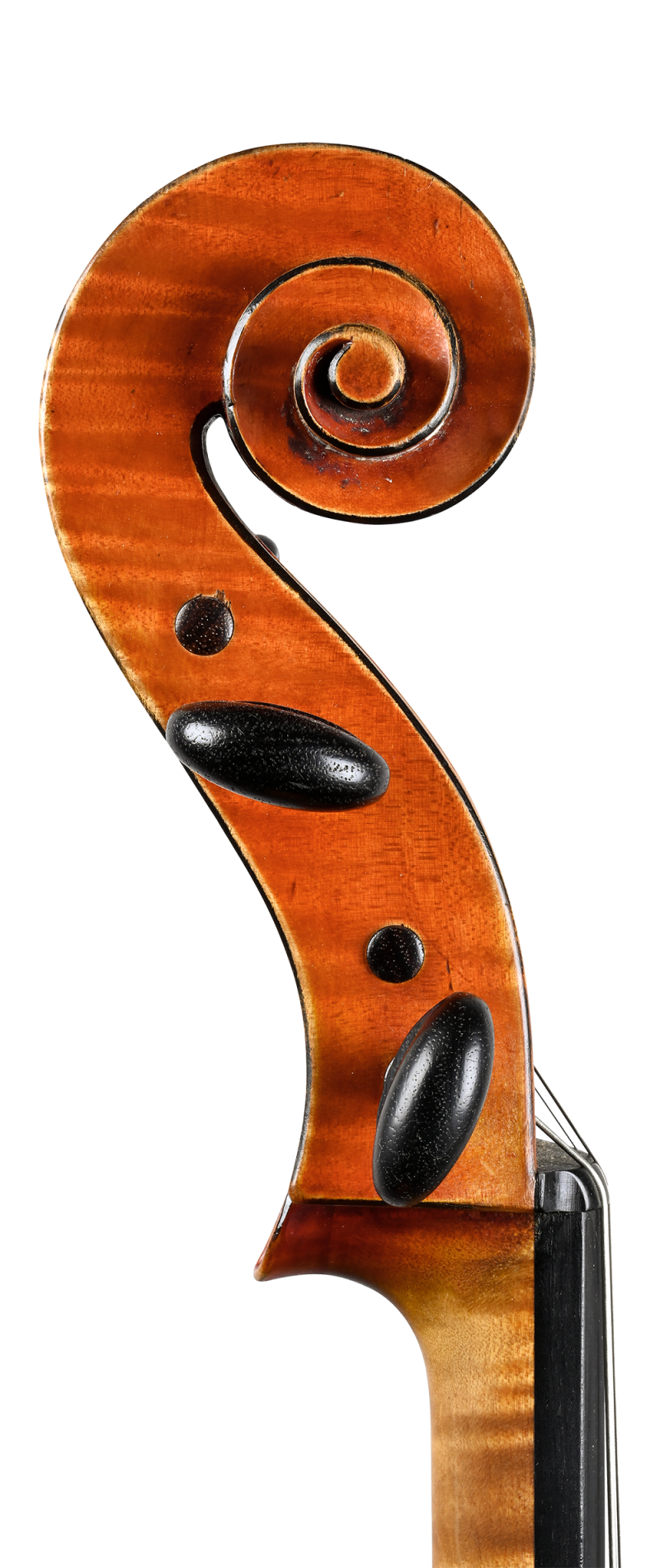 Scroll of a cello by Charles Adolphe Gand, Paris, 1847