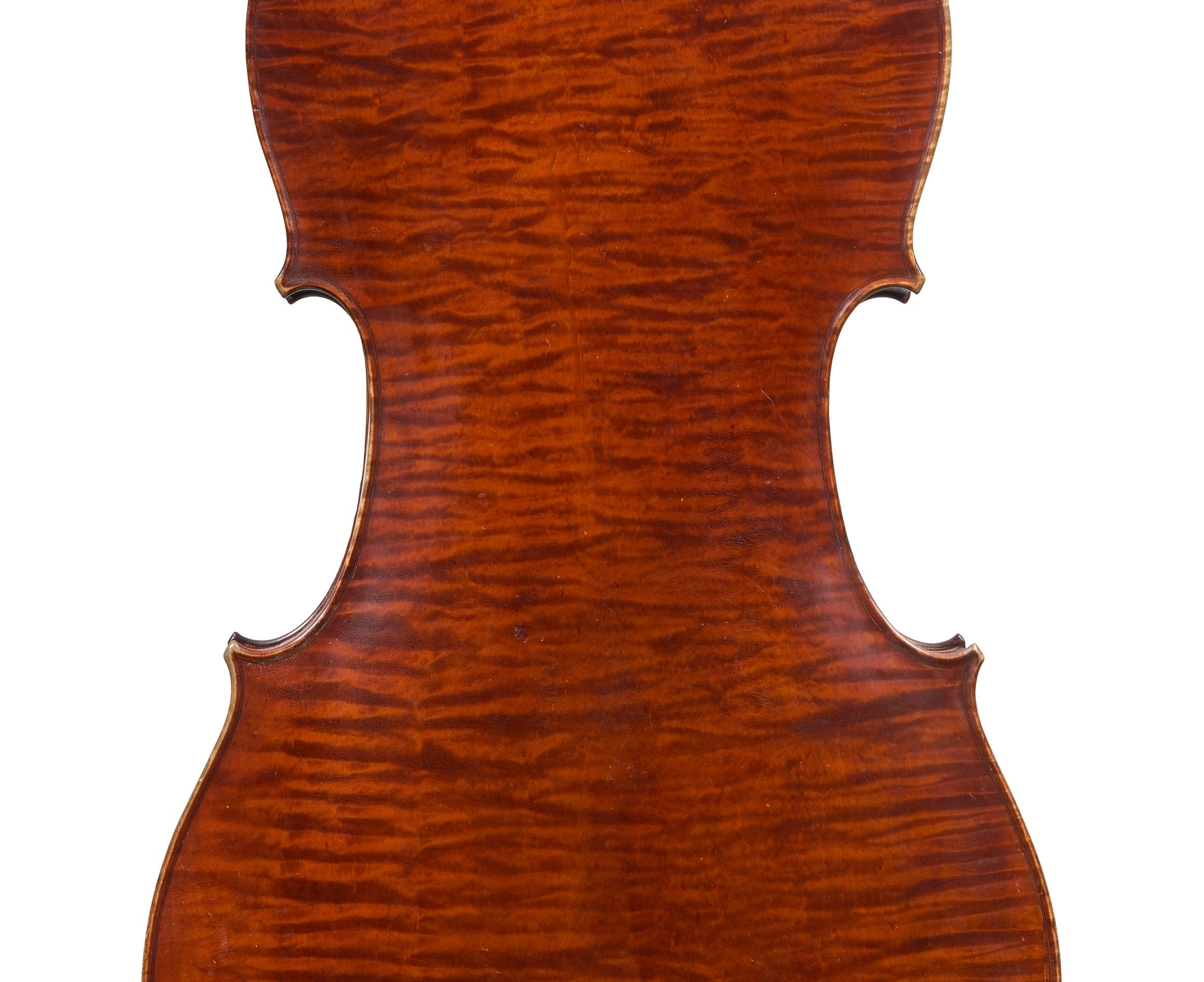 Back of a cello by ASP Bernardel, Paris, 1830 bought by William Tan