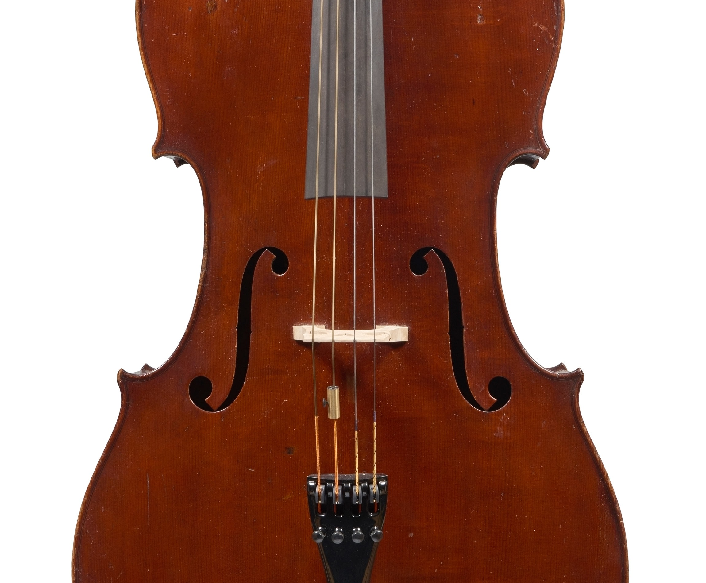 Front of a cello by ASP Bernardel, Paris, 1830 bought by William Tan